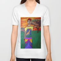 africa V-neck T-shirts featuring Africa by Ksuhappy