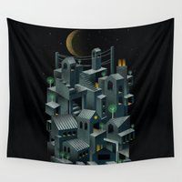 city Wall Tapestries featuring The City by dan elijah g. fajardo