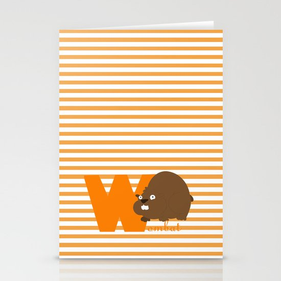 w for wombat Stationery Cards