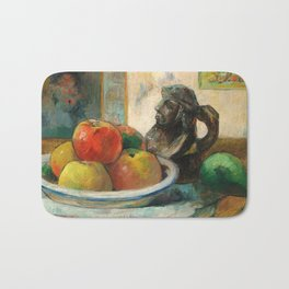 Still Life with Apples, a Pear, and a Ceramic Portrait Jug Bath Mat