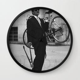 Bill F Murray stealing a bike. Rushmore production photo. Wall Clock