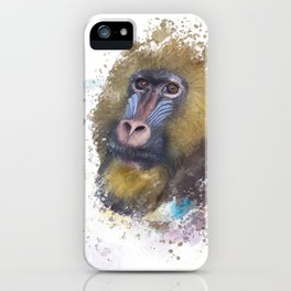 mandrill monkey portrait, tropical primate with a colorful face, watercolor digital painting iPhone Case