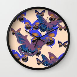BLUE-PUCE PURPLE  BUTTERFLIES  CREAM COLOR ART Wall Clock