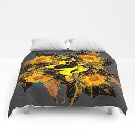 Grey Golden Yellow Fall Leaves Sunflower Black Design Comforters