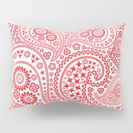 Red and White Paisley Pattern Pillow Sham