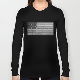 American flag - retro style in grayscale Long Sleeve T-shirt