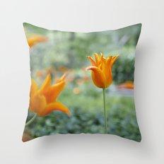 Tulips in orange Throw Pillow