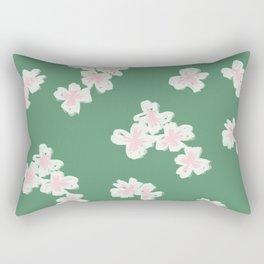 Cherry Blossom Green Rectangular Pillow