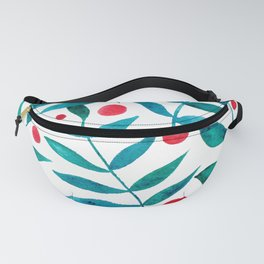 Watercolor berries and branches - turquoise and red Fanny Pack