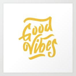 Good Vibes, white & gold lettering Art Print