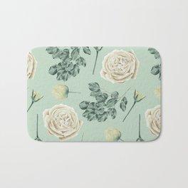 Rose Pattern Cream + Mint Green Bath Mat