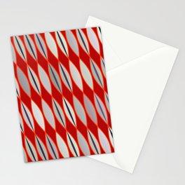 Mid Century Modern Leaves, Dark Red & Gray / Grey Stationery Cards