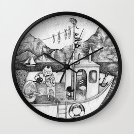 Fox on Fishing-boat Wall Clock