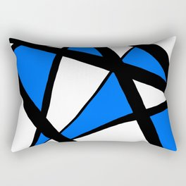 China Blue Geometric Triangle Abstract Rectangular Pillow
