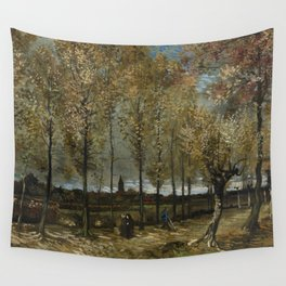 1885-Vincent van Gogh-Lane with Poplars-78x97 Wall Tapestry
