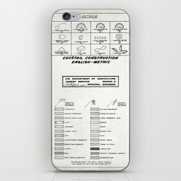 COCKTAIL print, cocktail chart poster iPhone Skin