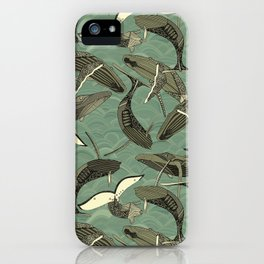 whales and waves aqua iPhone Case
