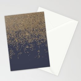 Navy Blue Gold Sparkly Glitter Ombre Stationery Cards