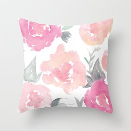 Muted Floral Watercolor Design  Throw Pillow