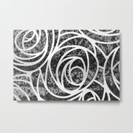 Abstract Rose in Black and White Metal Print