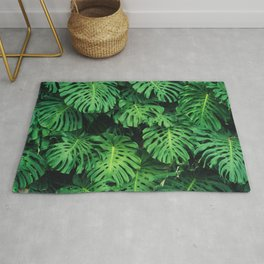 Monstera leaf jungle pattern - Philodendron plant leaves background Rug