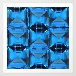 BLUE CRYSTAL GEMS PATTERN Art Print