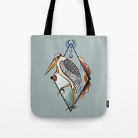 "crane Tote Bags featuring ""CRANE"" by Magdalena Sky - The Moth"