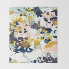 Sloane - Abstract painting in modern fresh colors navy, mint, blush, cream, white, and gold Throw Blanket