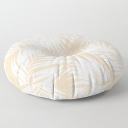 Palm Tree Fronds White on Peach Hawaii Tropical Décor Floor Pillow