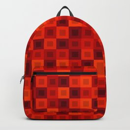 Strict tile of red intersecting rectangles and dark bricks. Backpack