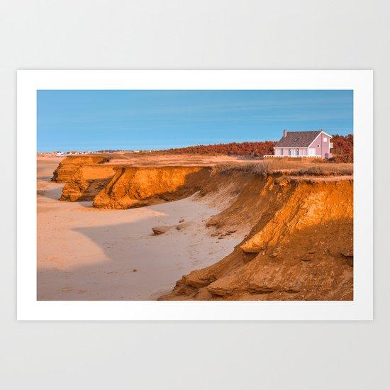 Thunder Cove Beach Cliffs - Golden Pastel Hour Art Print