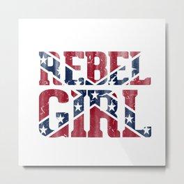 Rebel Girl Vintage Southern Confederate Flag Metal Print