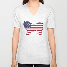 "Samoyed ""American Flag"" Unisex V-Neck"