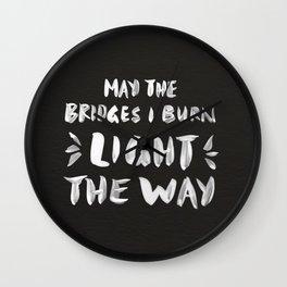 Burned Bridges – Black & White Wall Clock