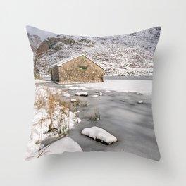 Frozen Lake Snowdonia Throw Pillow