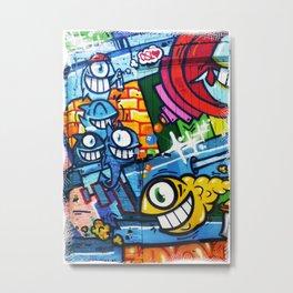 Graffiti Streetart fish comic with big eyes Metal Print