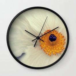 White Argemone Flower Photograph Wall Clock