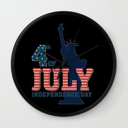 4th of July American Flag Vintage USA Men Women Patriotic T-Shirt Wall Clock