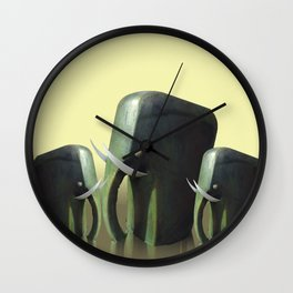 Mother elephant with two calves Wall Clock