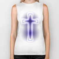 metallic Biker Tanks featuring Metallic Cross by Alli Vanes