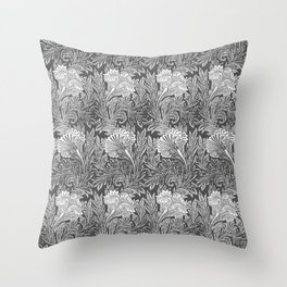 Jacobean Flower Damask, Silver Gray and White Throw Pillow