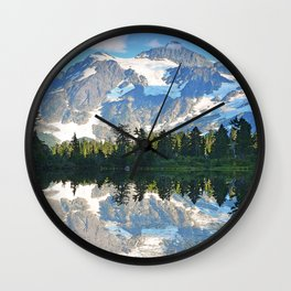 SUNNY DAY AT PICTURE LAKE MOUNT SHUKSAN Wall Clock
