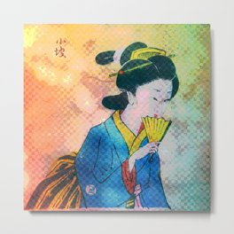 Geisha with Fan 2 Metal Print