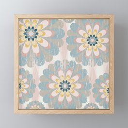 Distressed Floral Pattern in Muted Blush Pink Teal Yellow Framed Mini Art Print