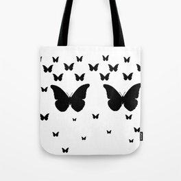 GOTHIC EBONY BLACK BUTTERFLIES & WHITE-BLACK ART Tote Bag