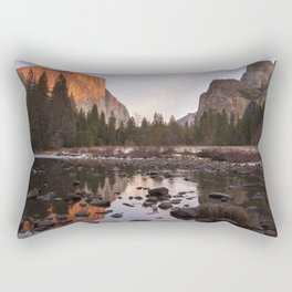 Yosemite - El Capitan & Merced River - Sunset in Winter Rectangular Pillow