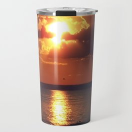 Flaming sky over Sea - Nature at its best Travel Mug
