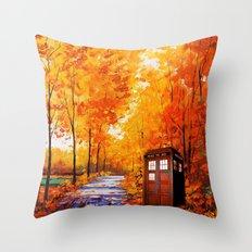 Tardis Autumn Art Painting Throw Pillow