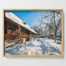 Fairy Tale Winter View at the Village Museum in Bucharest Serving Tray