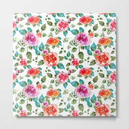 Rustic  floral pattern with rose Metal Print